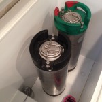 5 gallon Corny kegs in temperature-controlled freezer