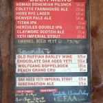 Great Divide beer menu