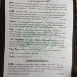 Green Man Brewery menu (side A)