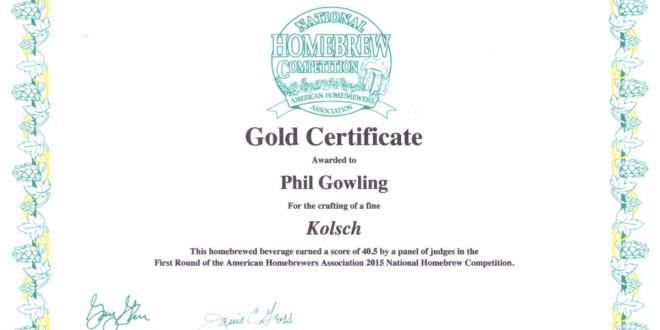 NHC 2015 Gold certificate