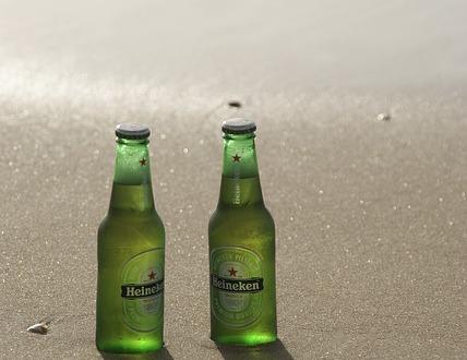 Heineken bottles on the beach