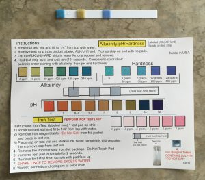 Alkalinity/pH/Hardness test results
