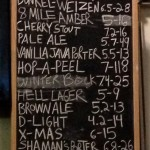 Draft beer menu at Atwater Brewery