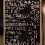 Draft beer menu at Atwater Brewery