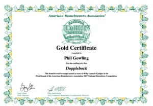 NHC Gold certificate
