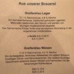 Brauerei Greifenklau beer menu
