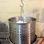 Hoisting grain bag out of Brew Kettle