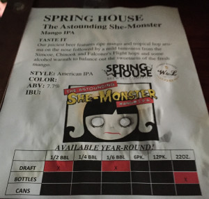 The Astounding She-Monster Mango IPA by Spring House Brewing