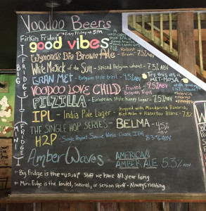 Chalkboard beer & wine selection